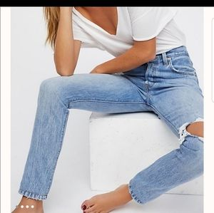 Levis 501 High Rise Button Fly Light Skinny Jeans